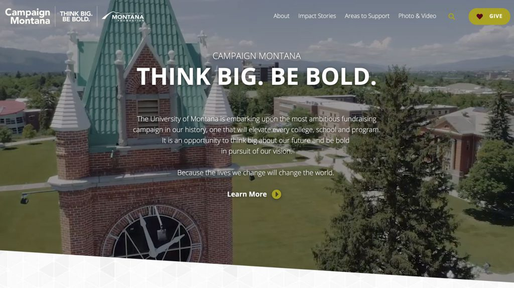 The University of Montana capital campaign website